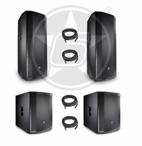 "JBL PRX Live Sound Package w/ (2) PRX825W Dual 15"" Powered 2-Way Speakers & (2) PRX818XLFW Powered 18"" Subwoofers"
