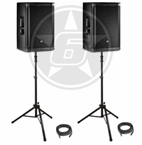 "JBL SRX DJ Package w/ (2) SRX815P 15"" Powered Speakers, (2) Ultimate Support TS-100B speaker stands and cables"
