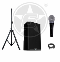 QSC K12.2 Speaking Engagement & Education Speaker Package w/ Shure PG48 Microphone