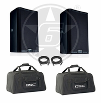 "QSC K8.2 Powered 8"" 2000-Watt DJ Speaker Package w/ Tote Bags"