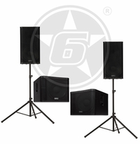 "QSC KW Series DJ Package w/ (2) KW152 Powered 15"" Speakers, (2) KW181 Powered 18"" Subwoofers and (2) Speaker Stands"