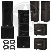 "QSC KW153 Dual 15"" Powered Speakers & KW181 Powered 18"" Subwoofer Live Sound DJ Package"