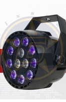SIX STAR Mini Par UVW 9 x 1 watt UV and 3 x 1 watt white LED