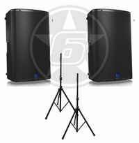 Turbosound DJ Package w/ (2) IX15 Powered Speakers & Speaker Stands