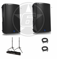 "Turbosound IX12 Powered 12"" DJ Speaker Package with Ultimate Support stands"