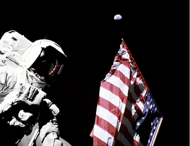 Apollo 17 Flag and Earth