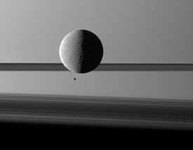 Saturn Moon and Rings