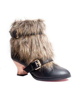 "2 1/2"" Animal Friendly Fur And Synthetic Leather Bootie * ELENA"