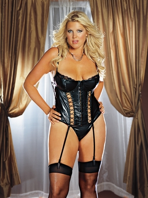 Faux Leather Underwire Bustier * 4280X