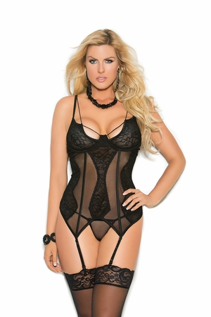 4306X * Mesh And Lace Bustier