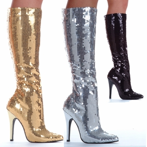 "5"" Heel Sequins Knee Boot * 511-TIN"