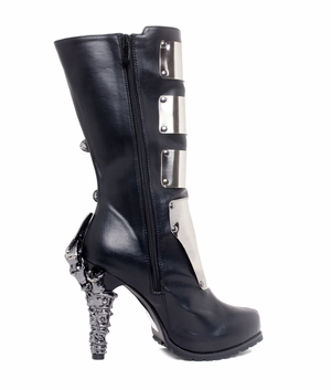 "5"" Knee High Biker Boots With Metal Plates * VARGA"