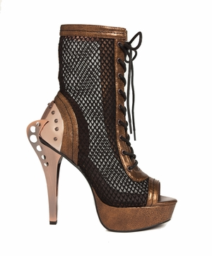 "5"" Steampunk Ankle Boots With Bronze Metal Heel * SCARLET"