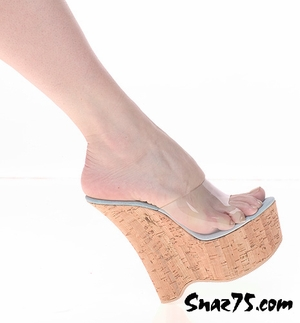 "6"" Heel Cork Covered Wedge Slip On * W-514"