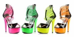"6"" Neon Stiletto With Elastic Band  * 609-ADORE"