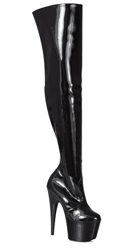 "7"" Heel Platform Zip Up Thigh Boot * H-7"