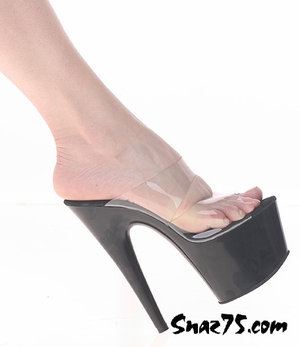 "7"" Platform Double Clear Strap Slip On * 714"
