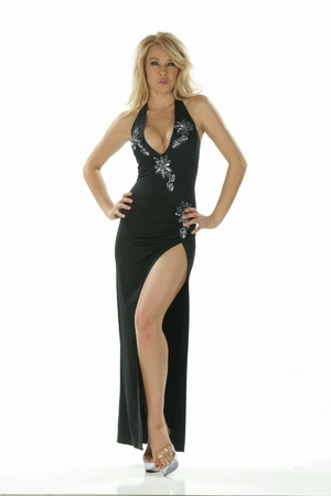 Beaded Applique Gown * 4870