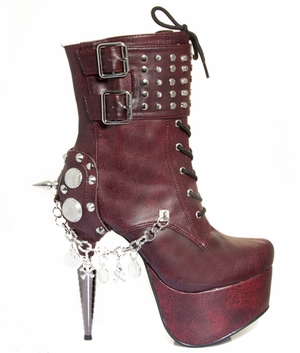 Burgundy Platform Lace Up Boot * ARTEMIS
