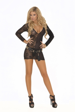 Deep V Lace And Opaque Long Sleeve Mini Dress  * 1571