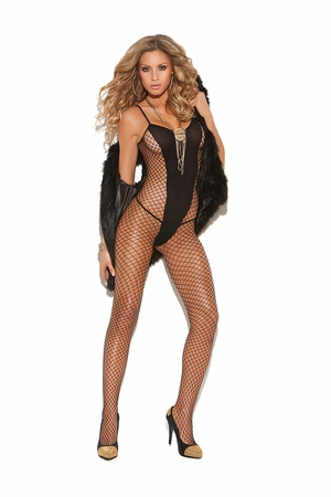 Diamond Net And Opaque Bodystocking * 8748