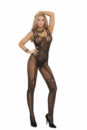 Fishnet And Lace Bodystocking * 1689