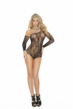 Floral Pattern Fishnet Teddy * 1147