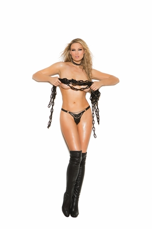 Leather G-String With Rivets * L9778X