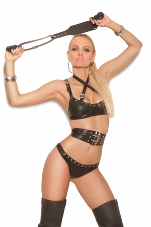 Leather Underwire Bra With Straps * L1940