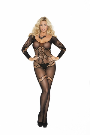 Long Sleeve Crochet Bodystocking * 1289Q