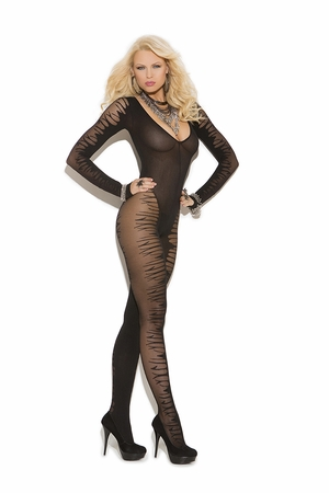 Long Sleeve Sheer Jacquard Bodystocking  * 8888