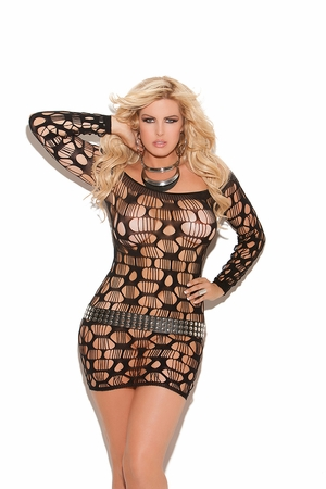 Off The Shoulder Ripped Net Mini Dress  * 8674Q