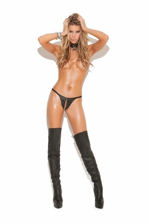 Leather Peek A Boo G-String * L9187
