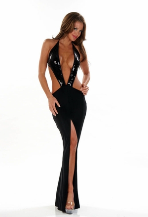 Stretch Sequins Gown * 4454