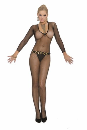 V Cut Fishnet Bodystocking * 1613