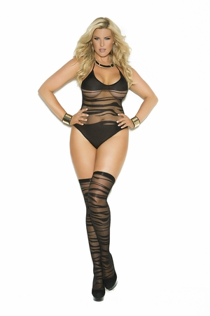 Wave Pattern Crotchless Teddy And Stockings * 1533Q