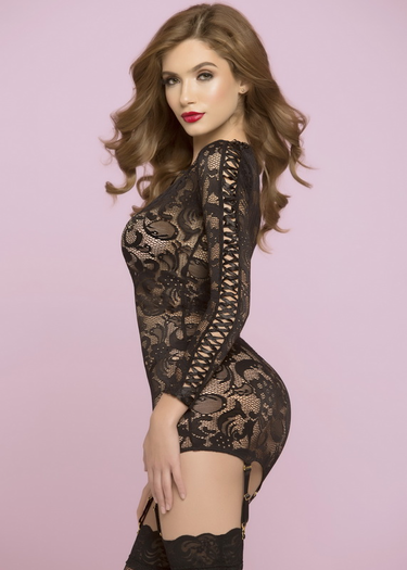 All Night Long Lace Garter Chemise Set