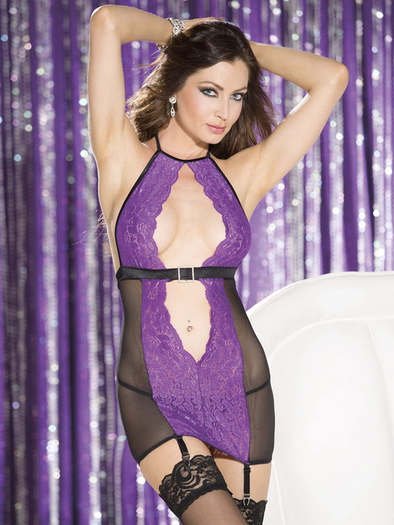 Alluring Lace Garter Chemise & Thong Set