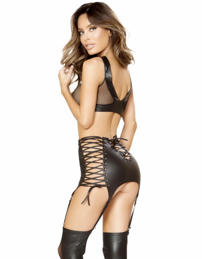 Bad Behavior Fishnet Bra & High Waist Garter Set