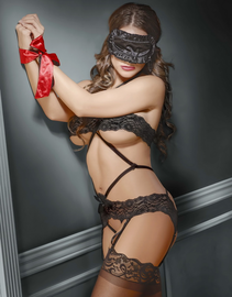 Bands Of Lace Crotchless Teddy & Bondage Set