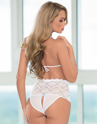 Beautiful Bride Sexy Open Crotch Lace Teddy