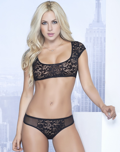 Black Boudoir Lace Bra & Open Back Panty Set