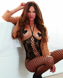 Black Diamond Open Bust & Crotch Net Bodystocking