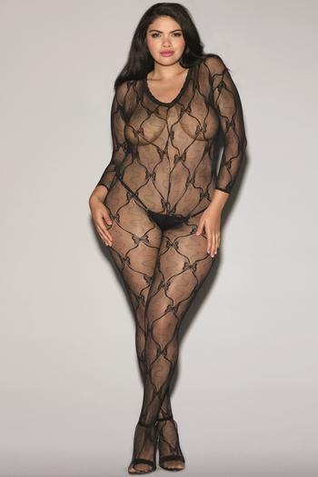 Black Diamond Plus Size Lace Long Sleeved Bodystocking