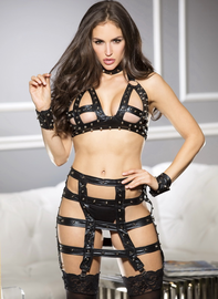 Black Fetish Studded Open Bra & Garter Set