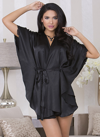 Black Flutter Sleeve Satin Robe
