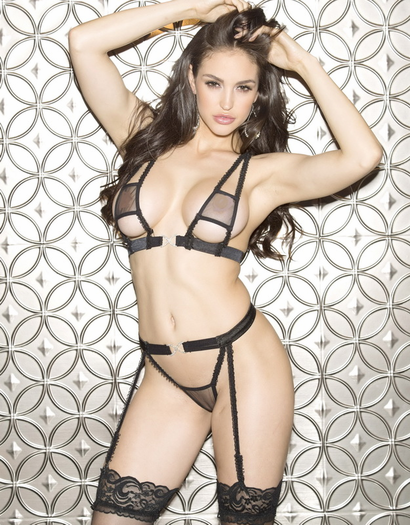 Black Net Lace Bra & Garter Thong Set