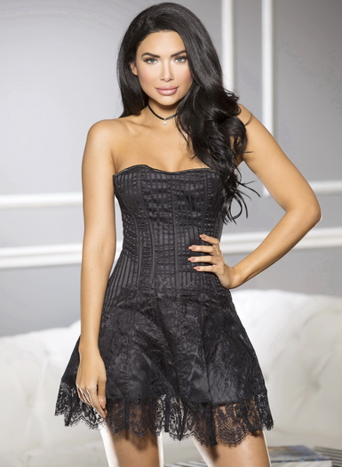 Black Strapless Corset Lace Dress
