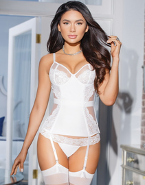 Blushing Bride White Garter Bustier