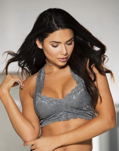 Charcoal Grey Lace Bralette Top